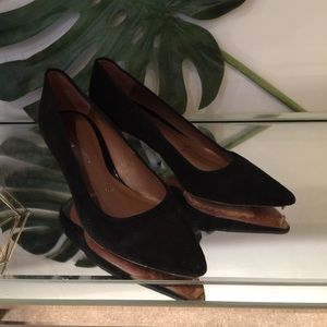 Donald Pliner genuine suede leather kitten heels